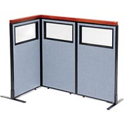 "Interion Deluxe Freestanding 3-Panel Corner Divider with Partial Window, 24-1/4""W x 43-1/2""H, Blue"
