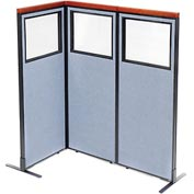 "Deluxe Freestanding 3-Panel Corner Divider with Partial Window, 24-1/4""W x 61-1/2""H, Blue"