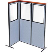 "Interion Deluxe Freestanding 3-Panel Corner Divider with Partial Window, 24-1/4""W x 73-1/2""H, Blue"
