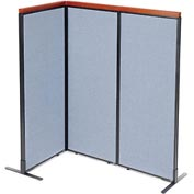 "Interion™ Deluxe Freestanding 3-Panel Corner Room Divider, 24-1/4""W x 61-1/2""H Panels, Blue"