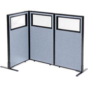 "Interion Freestanding 3-Panel Corner Room Divider with Partial Window, 24-1/4""W x 42""H Panels, Blue"