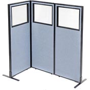 "Interion Freestanding 3-Panel Corner Room Divider with Partial Window, 24-1/4""W x 60""H Panels, Blue"
