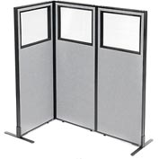 "Freestanding 3-Panel Corner Room Divider with Partial Window, 24-1/4""W x 60""H Panels, Gray"