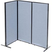 "Freestanding 3-Panel Corner Room Divider, 24-1/4""W x 60""H Panels, Blue"
