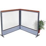 "Deluxe Freestanding 2-Panel Corner Room Divider with Full Window, 60-1/4""W x 61-1/2""H, Blue"