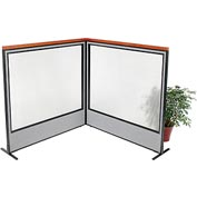 "Deluxe Freestanding 2-Panel Corner Room Divider with Full Window, 60-1/4""W x 61-1/2""H, Gray"