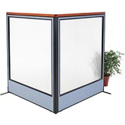 "Deluxe Freestanding 2-Panel Corner Room Divider with Full Window, 60-1/4""W x 73-1/2""H, Blue"