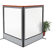 "Interion Deluxe Freestanding 2-Panel Corner Room Divider with Full Window, 60-1/4""W x 73-1/2""H, Gray"