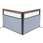 "Interion Deluxe Freestanding 2-Panel Corner Divider with Partial Window, 60-1/4""W x 43-1/2""H, Blue"