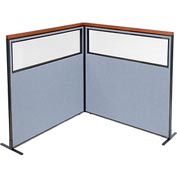"Interion Deluxe Freestanding 2-Panel Corner Divider with Partial Window, 60-1/4""W x 61-1/2""H, Blue"