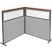 "Deluxe Freestanding 2-Panel Corner Divider with Partial Window, 60-1/4""W x 61-1/2""H, Gray"