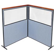 "Interion Deluxe Freestanding 2-Panel Corner Divider with Partial Window, 60-1/4""W x 73-1/2""H, Blue"