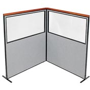 "Deluxe Freestanding 2-Panel Corner Divider with Partial Window, 60-1/4""W x 73-1/2""H, Gray"