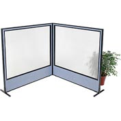 "Interion Freestanding 2-Panel Corner Room Divider with Full Window, 60-1/4""W x 60""H Panels, Blue"