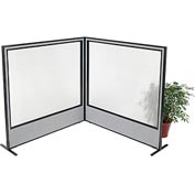 "Interion Freestanding 2-Panel Corner Room Divider with Full Window, 60-1/4""W x 60""H Panels, Gray"