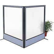 "Interion Freestanding 2-Panel Corner Room Divider with Full Window, 60-1/4""W x 72""H Panels, Blue"