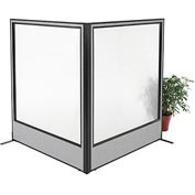 "Interion Freestanding 2-Panel Corner Room Divider with Full Window, 60-1/4""W x 72""H Panels, Gray"
