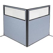 "Freestanding 2-Panel Corner Room Divider with Partial Window, 60-1/4""W x 60""H Panels, Blue"
