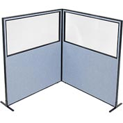 "Freestanding 2-Panel Corner Room Divider with Partial Window, 60-1/4""W x 72""H Panels, Blue"