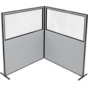 "Freestanding 2-Panel Corner Room Divider with Partial Window, 60-1/4""W x 72""H Panels, Gray"