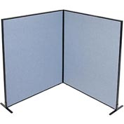 "Freestanding 2-Panel Corner Room Divider, 60-1/4""W x 72""H Panels, Blue"