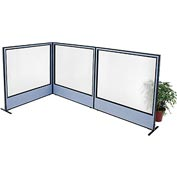 "Interion Freestanding 3-Panel Corner Room Divider with Full Window, 60-1/4""W x 60""H Panels, Blue"