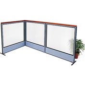 "Interion Deluxe Freestanding 3-Panel Corner Room Divider with Full Window, 60-1/4""W x 61-1/2""H, Blue"
