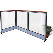 "Interion Deluxe Freestanding 3-Panel Corner Room Divider with Full Window, 60-1/4""W x 73-1/2""H, Blue"