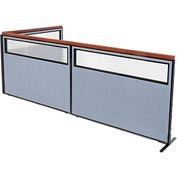 "Interion Deluxe Freestanding 3-Panel Corner Divider with Partial Window, 60-1/4""W x 43-1/2""H, Blue"