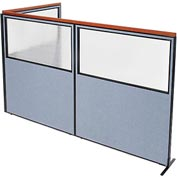 "Interion Deluxe Freestanding 3-Panel Corner Divider with Partial Window, 60-1/4""W x 73-1/2""H, Blue"