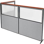 "Interion Deluxe Freestanding 3-Panel Corner Divider with Partial Window, 60-1/4""W x 73-1/2""H, Gray"