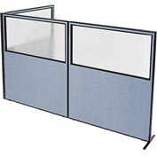 "Interion Freestanding 3-Panel Corner Room Divider with Partial Window, 60-1/4""W x 72""H Panels, Blue"