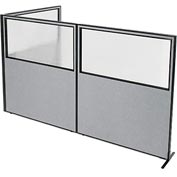 "Interion Freestanding 3-Panel Corner Room Divider with Partial Window, 60-1/4""W x 72""H Panels, Gray"