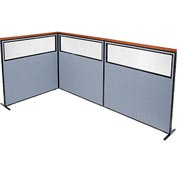 "Interion Deluxe Freestanding 3-Panel Corner Divider with Partial Window, 60-1/4""W x 61-1/2""H, Blue"
