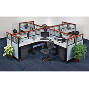Interion™ Pre-Configured Office Partitions & Cubicles, 4 Person