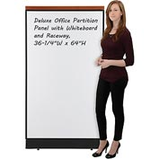 "Deluxe Office Partition Panel with Whiteboard and Raceway, 36-1/4""W x 65-1/2""H"