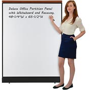 "Deluxe Office Partition Panel with Whiteboard and Raceway, 48-1/4""W x 65-1/2""H"