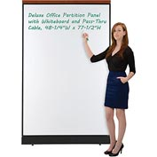 "Interion Deluxe Office Partition Panel with Whiteboard and Pass-Thru Cable, 48-1/4""W x 77-1/2""H"