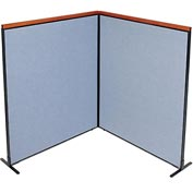 "Interion™ Deluxe Freestanding 2-Panel Corner Room Divider, 60-1/4""W x 73-1/2""H, Blue"