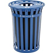 Global™ Outdoor Steel Recycling Receptacle with Flat Lid - 36 Gallon Blue