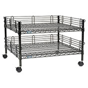 "Nexel™ 2-Shelf Black Wire Shelf Copier Stand/Media Supply Cart, 32""W x 30""D x 20""H"