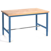 "96""W x 30""D Production Workbench - Birch Butcher Block Square Edge - Blue"