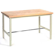 "96""W x 36""D Production Workbench - Birch Butcher Block Square Edge - Tan"
