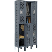 Infinity™ Heavy Duty Ventilated Steel Locker, Double Tier, 3-Wide, 12x12x36, Assembled, Gray