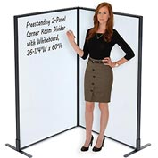 "Interion™ Freestanding 2-Panel Corner Room Divider with Whiteboard, 36-1/4""W x 60""H"