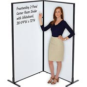 "Freestanding 2-Panel Corner Room Divider with Whiteboard, 36-1/4""W x 72""H"