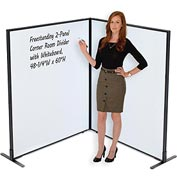 "Freestanding 2-Panel Corner Room Divider with Whiteboard, 48-1/4""W x 60""H"
