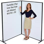 "Interion™ Freestanding 2-Panel Corner Room Divider with Whiteboard, 48-1/4""W x 72""H"