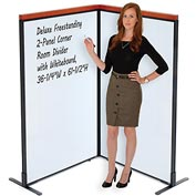 "Interion™ Deluxe Freestanding 2-Panel Corner Room Divider with Whiteboard, 36-1/4""W x 61-1/2""H"