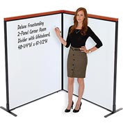 "Interion™ Deluxe Freestanding 2-Panel Corner Room Divider with Whiteboard, 48-1/4""W x 61-1/2""H"